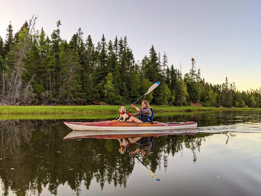 Paddles on Fortune River has double kayak rentals that work for everyone, whether it be an adult and child or a person and their dog.  - Photo Contributed