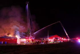 Firefighters from four counties were called to fight a fire at a recycling facility in Upper Rawdon, Hants County on Sunday night.