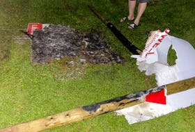 One large campaign sign pictured with Truro-Bible Hill-Millbrook-Salmon River Liberal candidate Tamara Tynes Powell's face and two smaller signs were burned at Ford and Robie Streets.