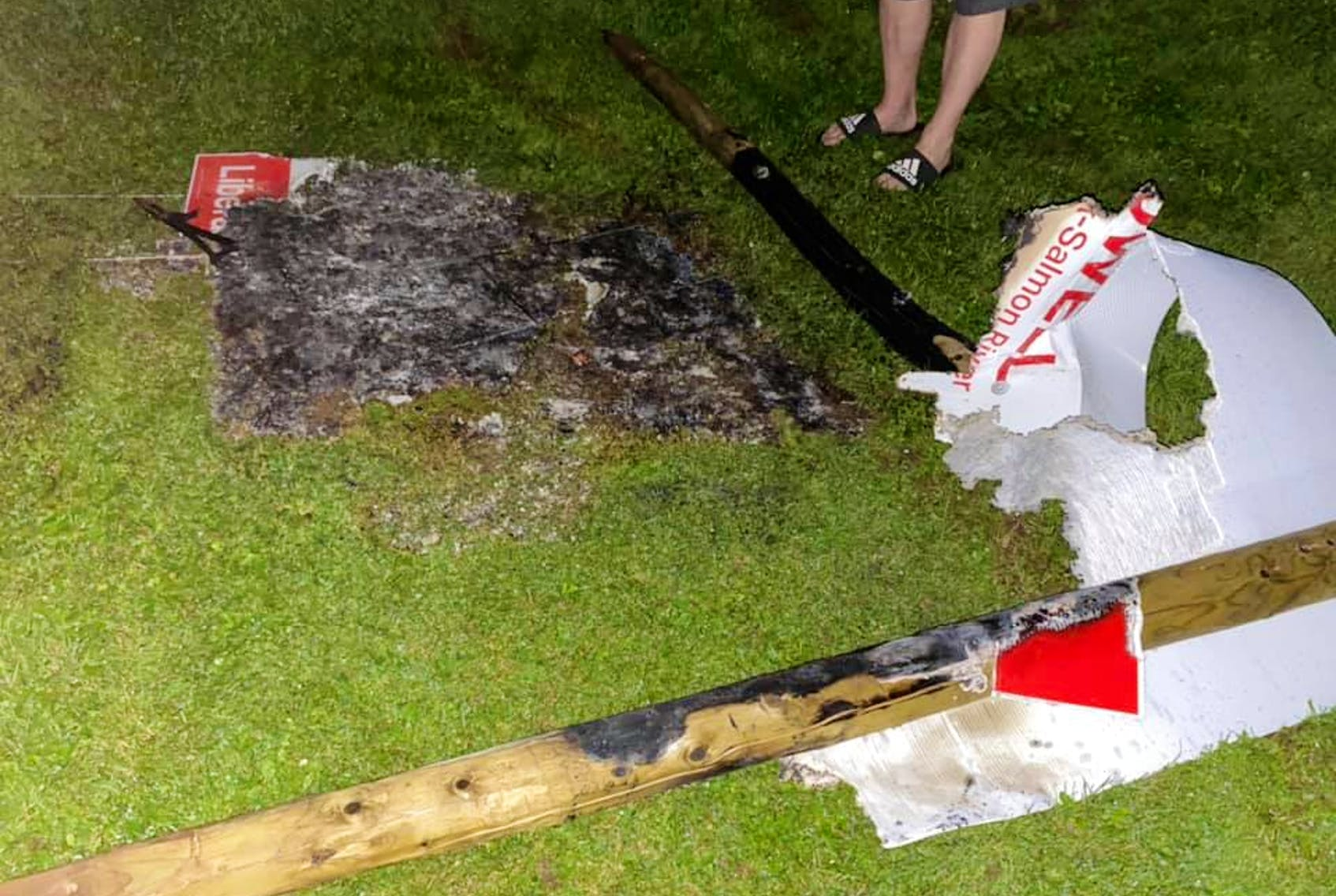 One large campaign sign, with a photo of Truro-Bible Hill-Millbrook-Salmon River Liberal candidate Tamara Tynes Powell, and two smaller signs were burned at Ford and Robie Streets.
