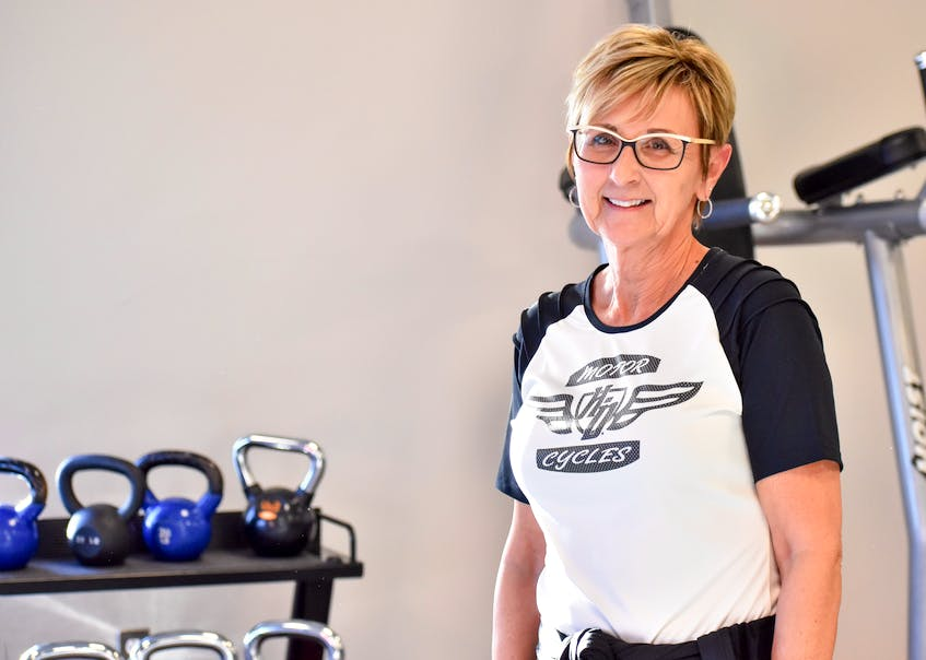 Joy Salsman smiles as she prepared for a workout in the fitness centre at the Kings Mutual Century Centre in Berwick. Contributed