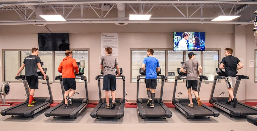 A group of six teens run on the treadmills at the Berwick Fitness Centre. Contributed