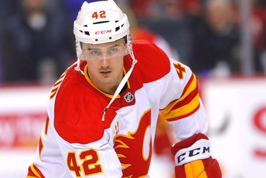 The Calgary Flames' Glenn Gawdin during warm-up before taking on the Anaheim Ducks at the Scotiabank Saddledome in Calgary on Feb. 17, 2020.