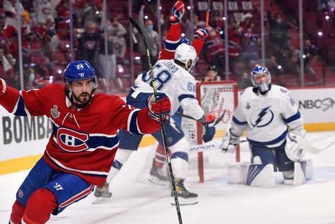 Montreal Canadiens forward Phillip Danault celebrates after scoring a goal against Tampa Bay Lightning during the Stanley Cup Final in Montreal. Danault is set to hit the open market on July 28 when the free agency frenzy begins.
