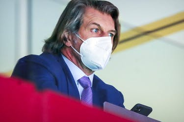 Montreal Canadiens general manager Marc Bergevin watches his team face the Edmonton Oilers in Montreal on May 12, 2021.