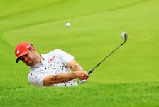 Corey Conners of Team Canada plays during a practice round at Kasumigaseki Country Club ahead of the Tokyo Olympic Games on July 27, 2021 in Tokyo, Japan.