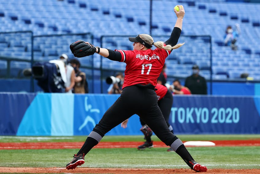 Sara Groenewegen of Canada throws a pitch during her team's bronze-medal game against Mexico on Tuesday, July 27, 2021. - Jorge  Silva / Reuters