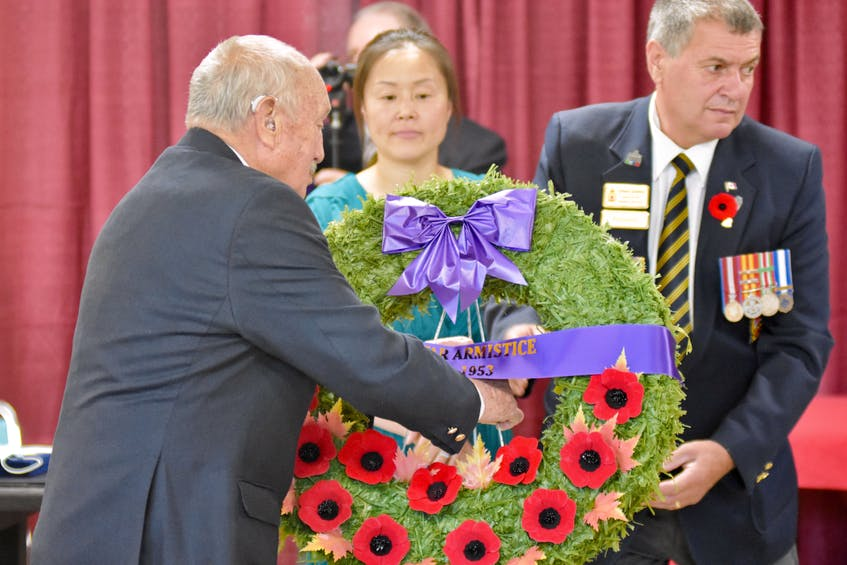 A wreath was laid during the ceremony. TINA COMEAU PHOTO