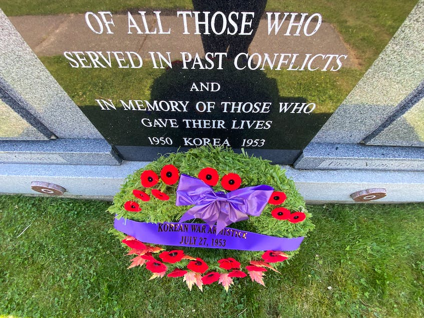 The monument outside of the Wedgeport Legion. TINA COMEAU PHOTO - Tina Comeau