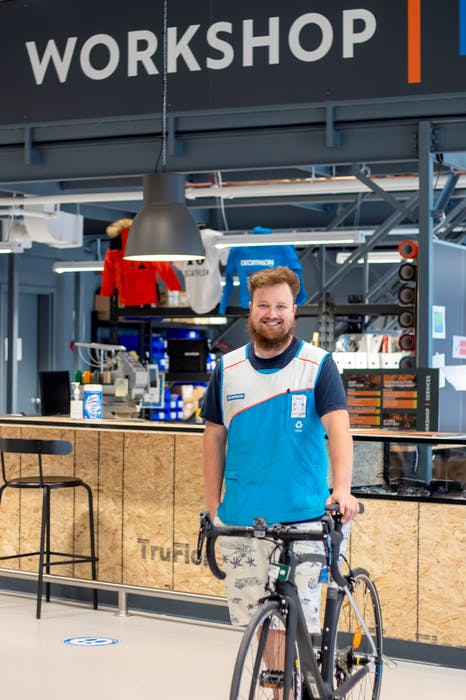 Carson Crothers heads the team at the Decathlon workshop, another in-store resource where customers can bring different products, including bicycles, for basic repairs. - Photo Courtesy Taylor Smith photo via Unsplash
