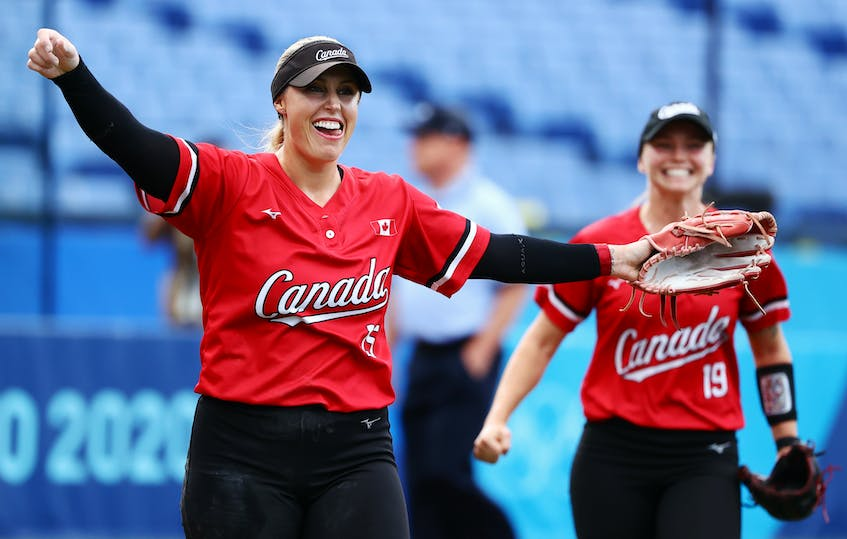 Canadian pitcher Danielle Lawrie celebrates after getting the final out in Canada's 3-2 win over Mexico in the bronze medal game at the Tokyo Olympics on Tuesday. - Jorge Silva / Reuters