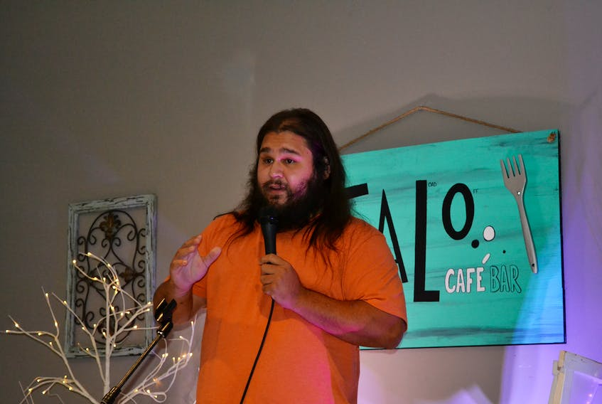 Clifton Cremo, 28, from Eskasoni First Nation hosted a comedy night at Talo in Glace Bay over the weekend. Cremo uses humour to address some serious topics, such as treaty rights and residential schools. ARDELLE REYNOLDS • CAPE BRETON POST