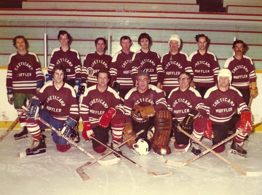 Members of the 1980-81 Cheticamp Muffler hockey team at the end of the season. From left, front row, Wilfred Aucoin, Charlie Chiasson, Pierre Deveau, David Poirier and Leonard Aucoin; back row, Woody Olford, Charlie Joe Chiasson, Hubert Larade, Lionel Delaney, Anselme Poirier, Victor Aucoin, Leonard Roach and Andre Aucoin. CONTRIBUTED