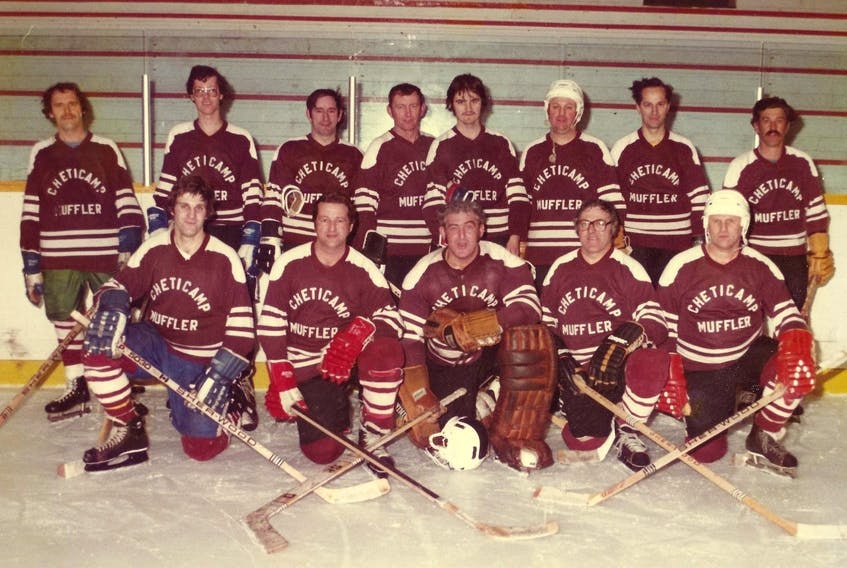 Hometown reps  Members of the 1980-81 Cheticamp Muffler hockey team at the end of the season. From left, front row, Wilfred Aucoin, Charlie Chiasson, Pierre Deveau, David Poirier and Leonard Aucoin; back row, Woody Olford, Charlie Joe Chiasson, Hubert Larade, Lionel Delaney, Anselme Poirier, Victor Aucoin, Leonard Roach and Andre Aucoin. CONTRIBUTED