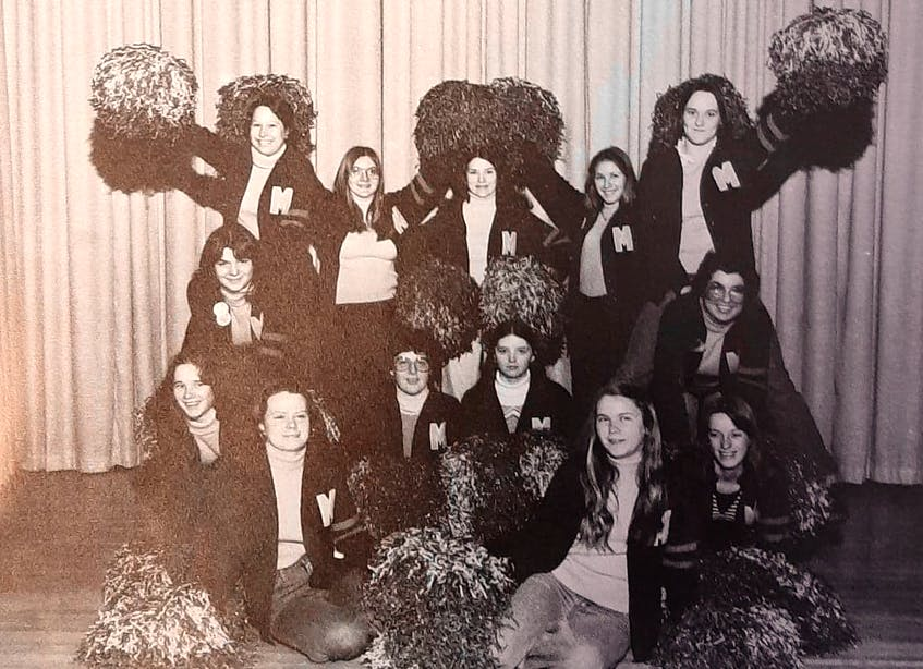 The 1976-77 Memorial High School cheerleaders from Sydney Mines. From left, front row, Ida Day and Sherry Sheppard; second row, Heather Francis, Kim Sullivan, Christine Dinham and Theresa Fifoot; third row, Cathy Gouthro and Gwen Young; back row, Linda Parks, Barbara Sexton, Judith MacCuish, Wanda Gordon and Debbie Newman. CONTRIBUTED
