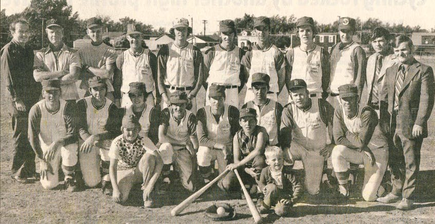 The Glace Bay Junior Miners baseball team captured the 1971 Maritime title. From left, front row, Steve Slade, Butch Shibinette, Dwight Smith, Martin Warner, Hughie Snow, Henry Boutilier Jr., Jackie Ferguson and Kenny Graham; back row, Greg Hines (executive), Jimmy Jobe (executive), Chic Slade (assistant coach), Jimmy Hoffman (head coach), Edison Clements, Joey Batten, Kenny Jamieson, Ralph Hoffman, Clarie Warner, Bruce Clark (executive) and Butch Hoffman (executive). Bat boys were James Edwards, Blaine MacAulay and Glen Slade. Also part of the team was Omar Sheppard (executive). CONTRIBUTED