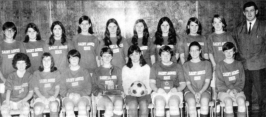The Saint Agnes High School girls soccer team from New Waterford captured the 1971 Nova Scotia and Cape Breton 'A' and 'B' soccer championships. From left, front row, Verna Bisson, Lynda Williams, Lynn Corbett, Beddie Connors, Elaine Odo, Mary C. MacNeil, Vivian Hollingsworth, Marilyn MacNeil; back row, Nora Mitchell, Judy Martin, Patricia MacEachern, Joanne Connors, Brenda Bates, Mary Helen Timmons, Roselyn MacPherson, Ann-Louise Burke, Bernadette Stephenson and Art Timmons (coach). CONTRIBUTED