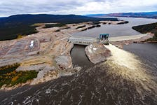 An aerial view of the Muskrat Falls site.