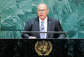 President of Nauru Lionel Rouwen Aingimea, pictured here addressing the 74th session of the United Nations General Assembly at U.N. headquarters in New York City in 2019, has partnered with DeepGreen to move ahead with a deep-sea mining project around his country. REUTERS/Eduardo Munoz