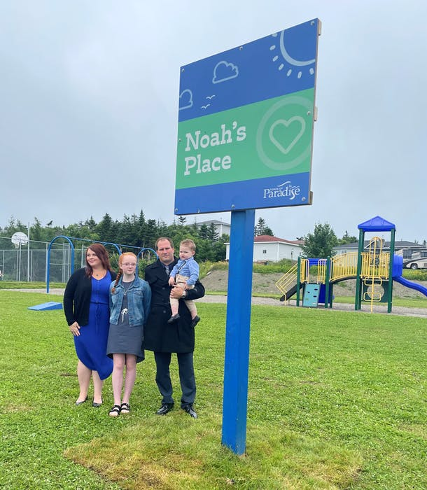 Noah's Place Sign Unveiling with Pam Myles and Marko Zaja (Noah's Parents) and siblings Avery and Lukas.