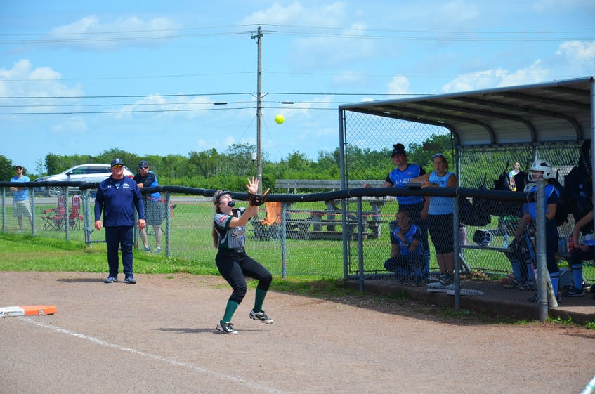 Dayna Holland, who plays first base for the Stratford Steelers, prepares to catch a foul pop-up during a game against the Saint John Southern Black Bears in the Red Isle Realty Under-16 Atlantic Classic fastpitch tournament in Richmond on July 24. - Jason Simmonds