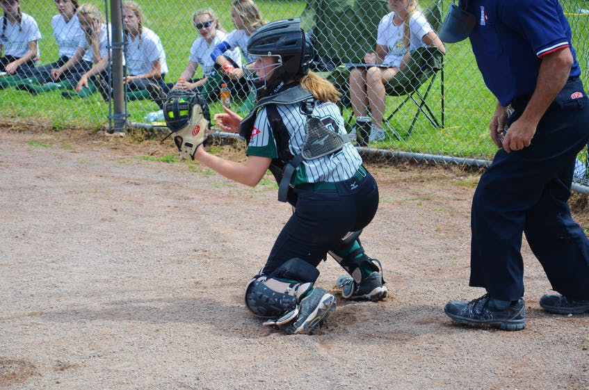 Stratford Steelers catcher Chloe Campbell receives a pitch during a game against the Saint John Southern Black Bears in the Red Isle Realty Under-16 Atlantic Classic fastpitch tournament in Richmond on July 24. - Jason Simmonds