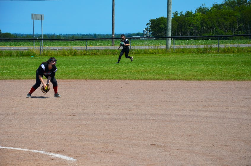 Bella Scott cleanly fields a ground ball at second base for the Riptide team during a game against the P.E.I. Under-14 Whitecaps in the Red Isle Realty Under-16 Atlantic Classic fastpitch tournament in Richmond on July 24. - Jason Simmonds