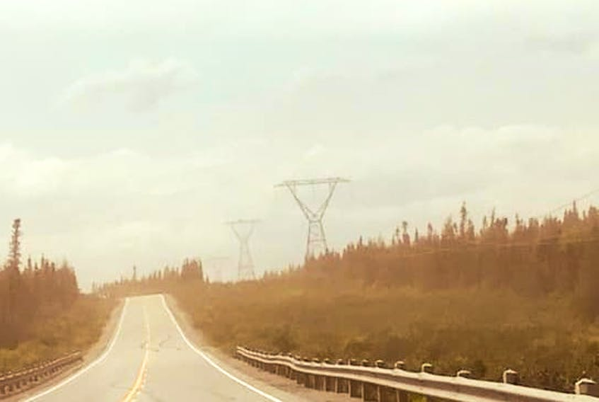 This photo, taken on July 25, shows the dust in the air near Wabush and Labrador City. Residents are concerned that the dust, which comes from nearby mining projects, could have adverse health impacts.