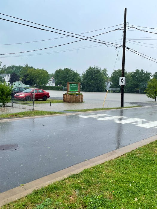 Water was a couple of feet deep at Elmcroft Park, next to the Hants Aquatic Centre, in Windsor. JENNIFER DANIELS