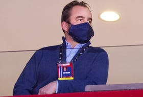 Montreal Canadiens owner Geoff Molson watches game against the Vancouver Canucks in Montreal on Feb. 2, 2021.