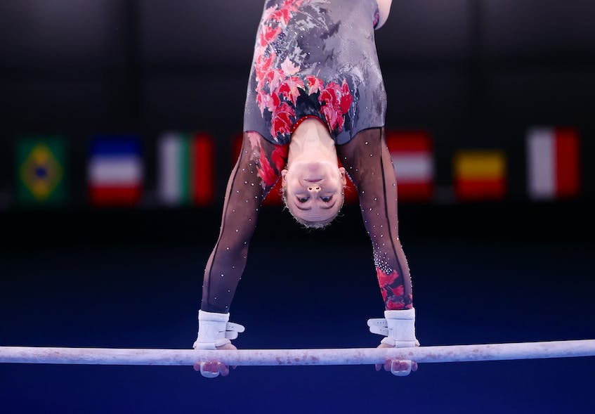 Halifax's Ellie Black competes on the uneven bars in the women's artistic gymnastics qualifier at the Ariake Gymnastics Centre, in Tokyo, Japan, onSunday, July 25, 2021. - Lindsey Wasson / Reuters
