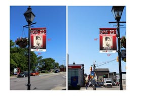 Examples of what the banners would look like in the Town of Yarmouth's Veterans Memorial Banner Program.