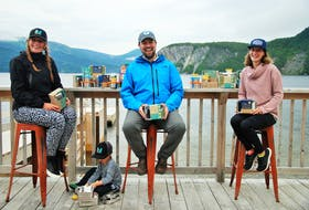 Several businesses in the Gros Morne region are taking steps to become plastic-free operations with some help from the Atlantic Healthy Oceans Initiative. Pictured (from left) are, Natalie Wheeler and her son, Liam Wheeler, from Gros Morne Outdoor Co., Ian Stone from Tour and Taste of Gros Morne, and Kristen Hickey from Gros Morne Adventures.