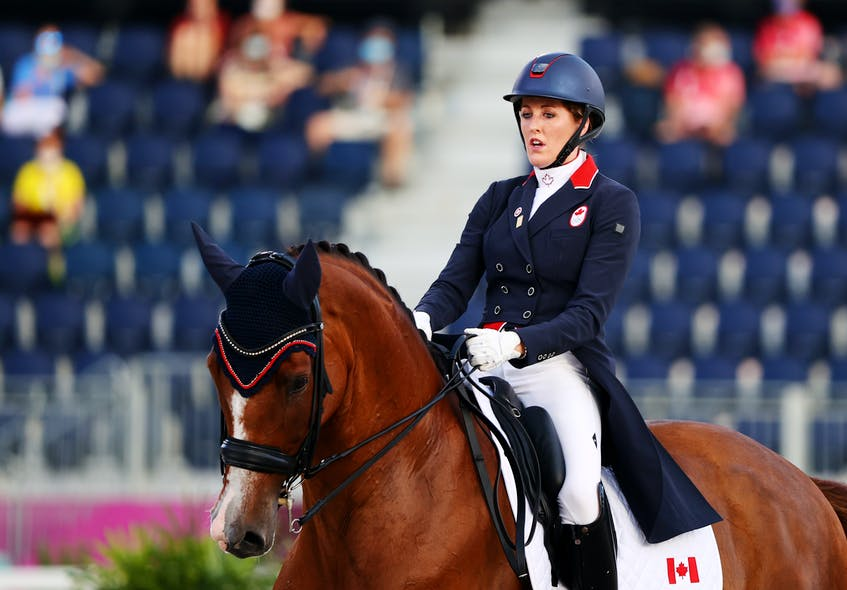 Brittany Fraser-Beaulieu of New Glasgow placed 18th and set a Canadian Olympic record in the individual Grand Prix freestyle event at the Tokyo Olympics on Wednesday.    REUTERS/Hamad I Mohammed