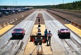 Bruce Riley of Halifax, left, and John Armstrong of Melvern Square, in the Annapolis Valley, are shown lined up for racing at Cape Breton Dragway in Sydney last summer. Cape Breton Dragway will open its 2021 season this weekend with no spectators due to COVID-19 restrictions. CONTRIBUTED • GERARD BRYDEN