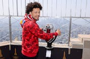 Potential top NBA draft pick Cade Cunningham visits The Empire State Building on Tuesday.