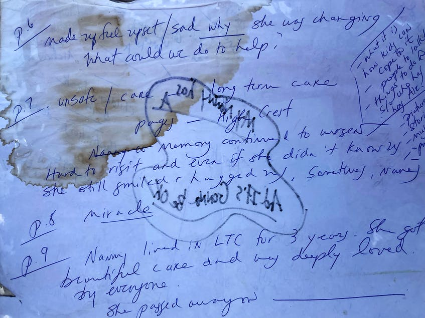 One day, on their way back from visiting their nan, Ruby MacLeod, at her nursing home, Marie, Alex and Ben Kennedy began chatting about writing a children's book about Alzheimer's. They jotted some ideas down on a piece of paper that Marie kept with her over the years, coffee stains and all.