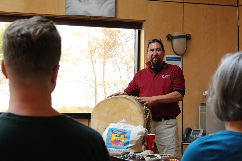 Jeff Ward, general manager of the Membertou Heritage Park, begins a hand drum making and song workshop for visitors from across Turtle Island in 2019. Ward says workshops are back up and running under public health protocols. To book a workshop, call the Membertou Heritage Park at 902-567-533. FILE PHOTO