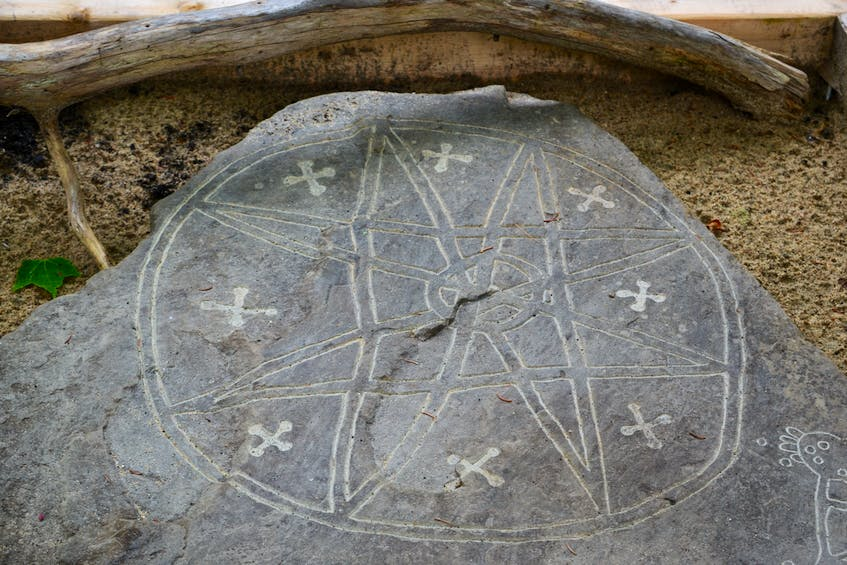 A reproduction of an original petroglyph, estimated to be from the 1700s, located in Bedford, can be seen at Eskasoni Cultural Journeys on Goat Island. ARDELLE REYNOLDS/CAPE BRETON POST