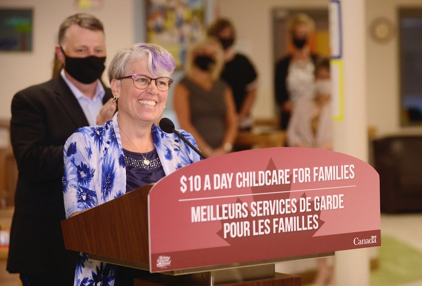 Kathleen Couture, executive director of the P.E.I. francophone early childhood education centres, was excited by the $10 a day childcare for families announcement on July 27 in Charlottetown. - Jason Malloy