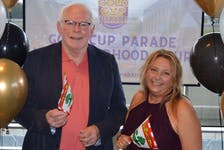 Ray Murphy, left, chair of the Gold Cup Parade committee, and Sandra Hodder Acorn, event manager for Old Home Week, announced details June 28 of scaled-back versions of both events at a press conference in Charlottetown.