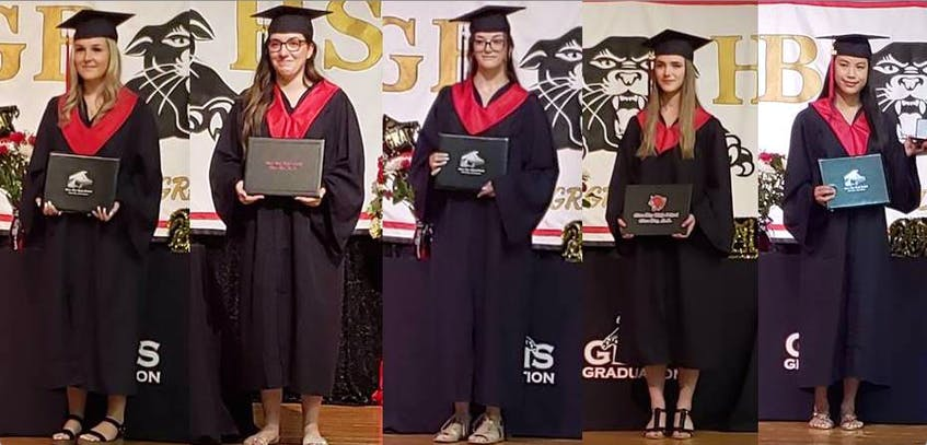 The Glace Bay Hospital Foundation, with the support of Shoppers Drug Mart Glace Bay and Sara Boutilier, were able to award five $1,000 scholarships this year to graduates planning to pursue careers in health care. This year's scholarship winners from Glace Bay High School are, from left, Abby MacKenzie, Brennah Messervey, Isabelle Ellsworth, Isabelle Pilling and Tian Campbell. CONTRIBUTED