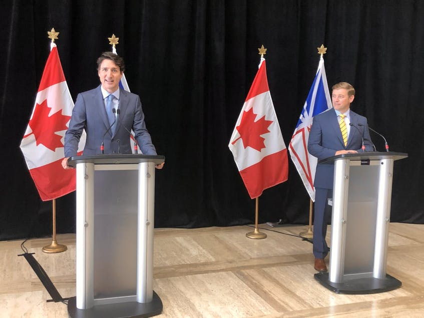 Prime Minister Justin Trudeau (left) announced a power rate mitigation deal alongside Newfoundland and Labrador Premier Andrew Furey, July 28, 2021 at the Confederation Building in St. John's. - Joe Gibbons