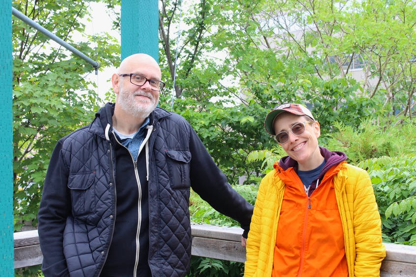 """After years of painful symptoms with no diagnosis in sight, playwright and actor Robert Chafe is back on stage with what the news release describes as a """"one-man stumbling folly about the aging body and mid-life anxiety."""" Pictured with Chafe is long-time collaborator and director of the show titled """"Everybody Just C@lm the F#ck Down,"""" Sarah Garton Stanley."""