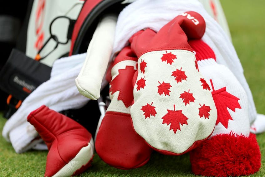 A detail of Mackenzie Hughes of Team Canada's bag during a practice round at Kasumigaseki Country Club.