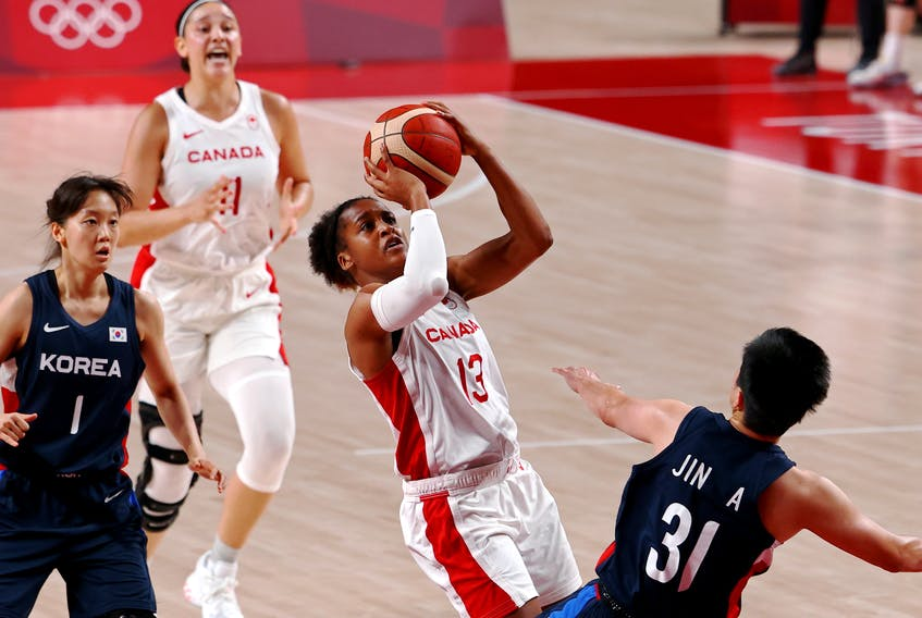 Shay Colley, who is originally from East Preston, prepares for a shot as Canada plays South Korea in women's basketball at the Tokyo Olympics at Saitama Super Arena in Saitama, Japan on Thursday, July 29, 2021.  - Bryan Snyder / Reuters