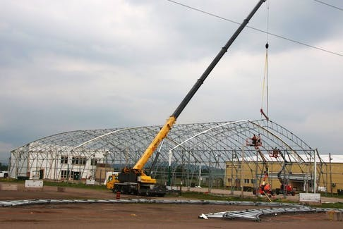 A lot of work is taking place at the Nova Scotia Provincial Exhibition grounds in Bible Hill. The dome on the Agridome is coming down, the grandstand is being renovated and fencing is being repaired.