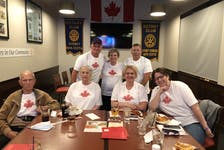 Maggie MacNeil's family in Cape Breton gathered in Sydney on Sunday to watch the 21-year-old capture Canada's first gold medal at the 2020 Tokyo Olympics. From left, front row, Eddie MacNeil (grandfather), Mary Dewan (great-aunt), Tracy MacNeil-Tighe (cousin) and Lesley Dewan (cousin); back row, Vince MacNeil (uncle), Patsy MacNeil (grandmother) and Raymond Duprey (cousin). MacNeil's father Edward MacNeil is originally from New Waterford. CONTRIBUTED • VINCE MACNEIL