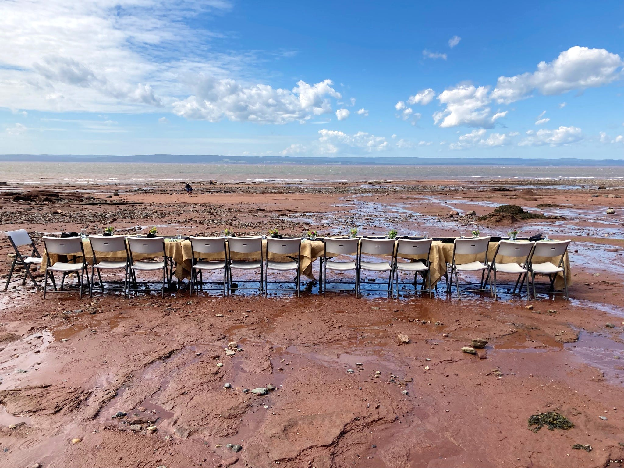 At Dining on the Ocean Floor diners literally sit and eat on the ocean's floor at Burntcove Head Park.