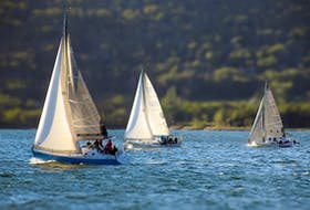 Keelboats in the water near the Ben Eoin Yacht Club and Marina during the 2020 edition of the East Bay Regatta. The club, located on Highway 4 in Ben Eoin, will host its annual regatta this weekend. CONTRIBUTED • BEN EOIN YACHT CLUB AND MARINA